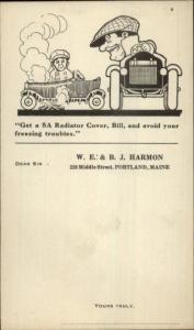 Mechanic Garage - WE&BJ Harmon 228 Middle St. Portland ME Postcard c1920s