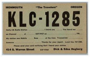 QSL Radio Card From Monmouth Oregon KLC - 1285