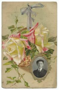 Floral Bouquet W Inset Oval RP Portrait of Young Man PPC, Unposted By Schofield