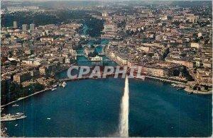 Modern Postcard The Geneva Jet d'Eau (130 meters) La Rade and the City