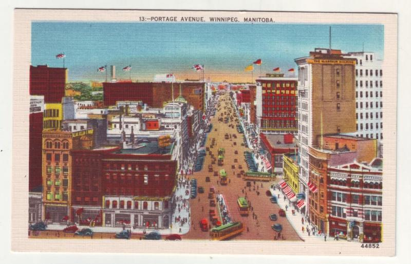 P284 JL 1930-45 postcard winnipeg manitoba birds eye view