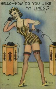 Sexy Woman Lingerie Stockings on Telephone Linen Armstrong Postcard