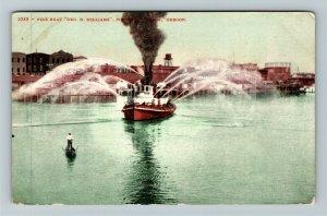 Portland OR-Oregon, Fireboat George Williams In Harbor, Vintage c1911 Postcard