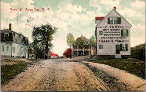 Depot Street Alton NH Varney Dry Good Groceries unpaved streets c1914