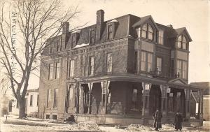 Hull IA Lincoln Hotel~Light Snow/Icycles~Dormers~Bell Telephone Sign~1912 RPPC