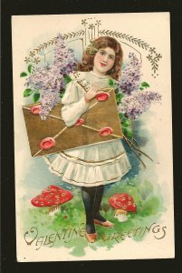 Vintage Valentine Greetings Made in Germany Embossed Color Postcard Unposted
