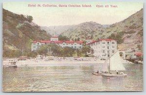 Santa Catalina Island~Biplane on Beach~Bridge~Hotel St Catherine~Umbrellas c1910