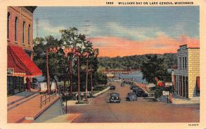 Williams Bay on Lake Geneva, Wisconsin, Linen Postcard, Used in 1954