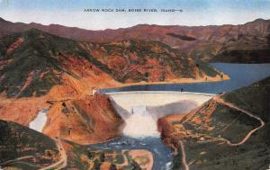 Arrow Rock Dam, Boise River, Idaho, early postcard, unused