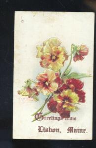GREETINGS FROM LISBON MAINE GLOWERS FLORAL VINTAGE POSTCARD LISBON FALLS ME.
