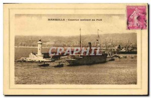 Old Postcard Mail returning to Marseille Port