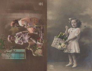 Posh Children Basket Of Champagne 2x Old Greeting Postcard s