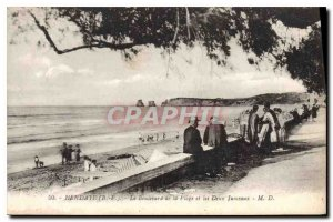 Old Postcard Hendaye Boulevard from the beach and the two twin