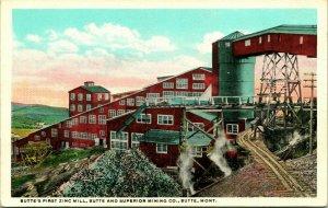 Vtg Cartolina Butte Montana MT - Superiore Miniera Co Primo Zinco Mulino Unp