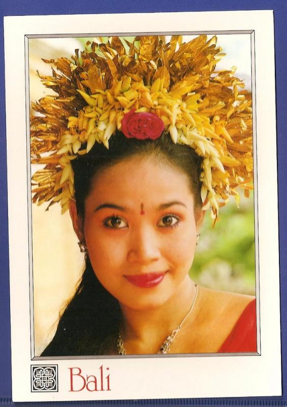 INDONESIA LARGE POSTCARD-BEAUTIFUL YOUNG BALINESE BRIDE-BALI