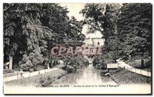 Old Postcard Chalons Sur Marne Garden Jard and Caisse d Epargne