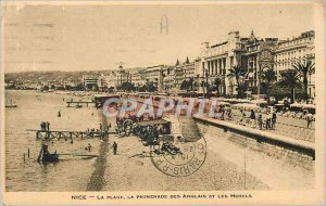 Nice Old Postcard The Beach Promenade des Anglais and the Hotels