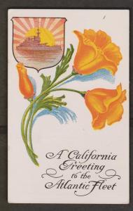 Battleship & Flowers - Caliafornia Greetint To Atlantic Fleet - Unused