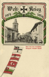 france, CUNEL, German Troops entering Village, Flags Central Powers (1916) WWI