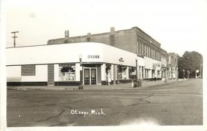 Otsego MI Art Deco Corner Drug Store~Drinking Fountain on Sidewalk RPPC 1950