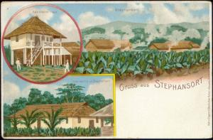 German Papua New Guinea, STEPHANSORT, Hospital, Litho Multiview (ca. 1899)