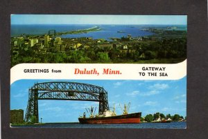 MN Greetings From Duluth Minnesota Gateway to Sea Postcard Ship Lift Bridge