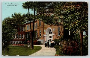 Stevens Point Wisconsin~State Normal School~Ladies Walking to Entrance~1913