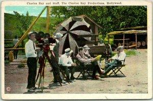 1920s Hollywood CA Postcard Movie Set Scene Charles Ray Productions Unused