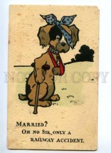 148215 COMIC Crying Dog w/ Crutch ART NOUVEAU Vintage PC