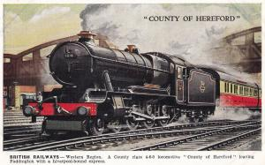 County Of Hereford Class 4-6-0 at Paddington Station Train Postcard