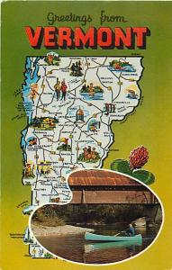 Greetings from Vermont VT Map  Chrome Postcard