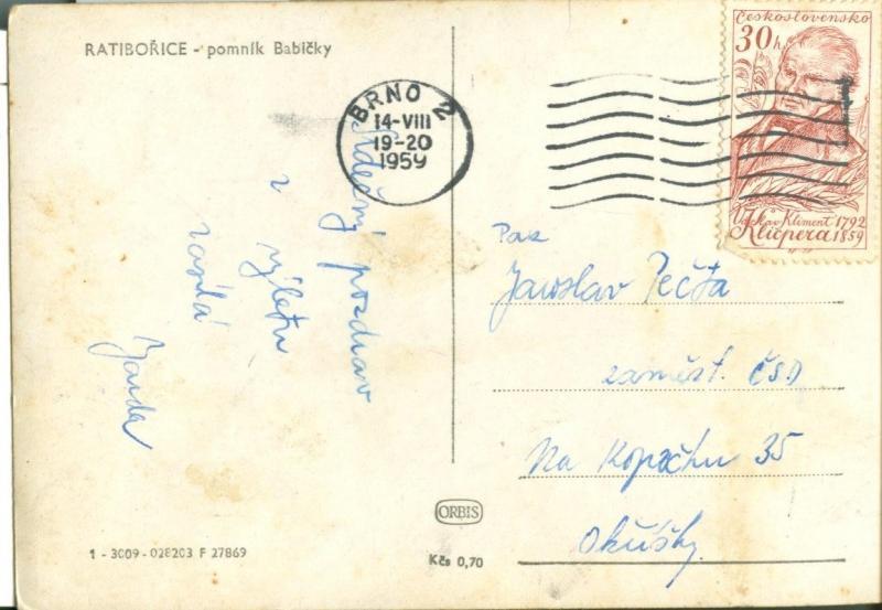 Czech Republic, Ratiborice, Pomnik Babicky, 1959 used RP