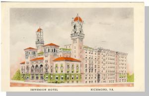 Classic Richmond, Virginia/VA Postcard, Jefferson Hotel,1954
