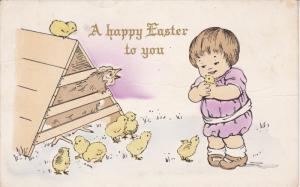 CHRISTMAS; A happy Easter to you, Toddler holding chick, Hen in cage, 00-10s