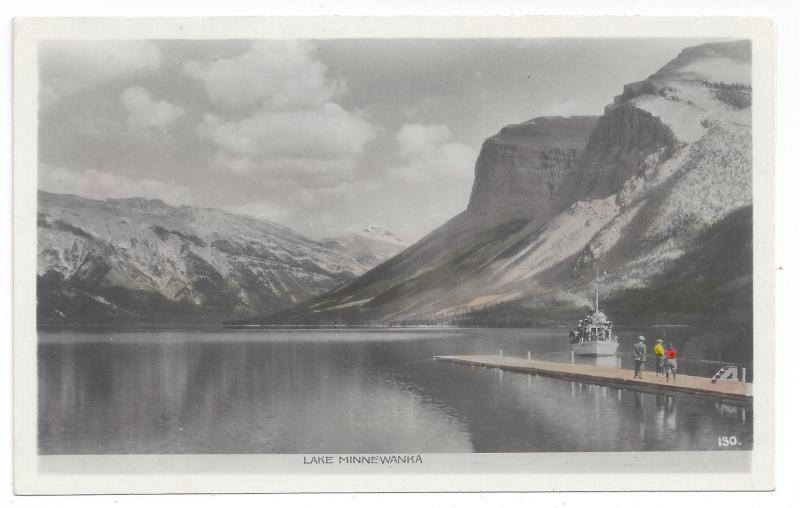 RPPC Canada Lake Minnewanka Banff Tinted Real Photo