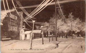 JACA,  SPAIN    Wintertime~ Snowbound~  NIGHT STREET SCENE  c1910s  Postcard