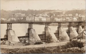 Almaville PQ Quebec Bridge c1921 Shawinigan Falls Cancel RPPC Postcard G97