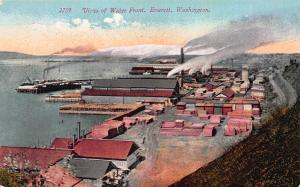 View of Water Front, Everett, Washington, Early Postcard, Unused