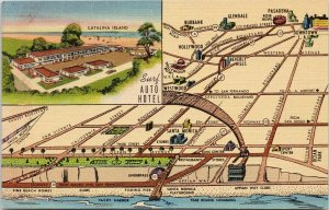 Santa Monica CA Surf Auto Hotel Map Unused Vintage Linen Postcard F90