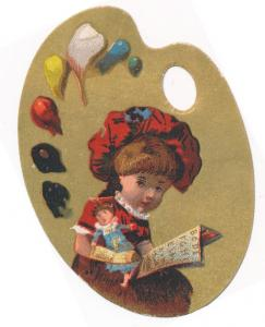 Victorian Palette Style Trade Card - Girl with Doll Reading Book