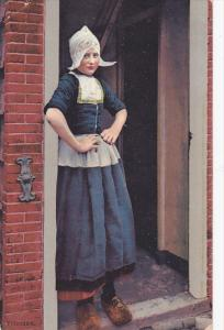 Dutch Woman Dressed In A Typical Costume, VOLENDAM (North Holland), Netherlan...