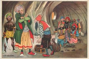 Vintage comic artist postcard ALI BABA AND THE FORTY THIEVES caricatures