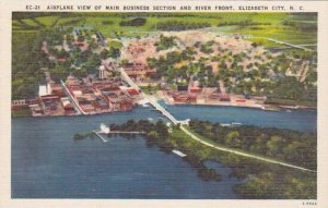 North Carolina Elizabeth City Airplane View Of Main Business Section And Rive...