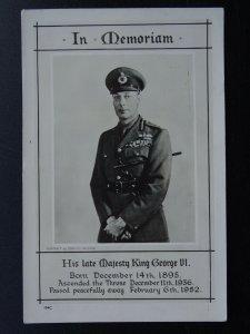 Royalty IN MEMORIAM H.R.H. KING GEOEGE Vl c1952 RP Postcard by Raphael Tuck 104C
