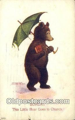 Sunday Busy Bear Series 79, The Ullman MFG 1906, Bear Postcard Bears, tragen ...