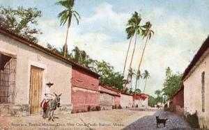 Mexico - Street in a Tropical Mexican Town. Vera Cruz & Pacific Railway
