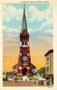 Biddeford Maine~St Joseph's Church~People in Front~40s Car & Bus~1944 Postcard