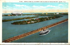 Florida Miami Aerial VIew Of Causeway and Islands Of Biscayne Bay 1933 Curteich