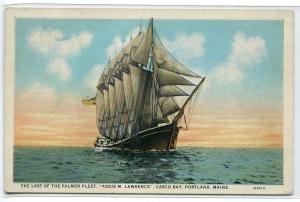 Sailing Ship Addie M Lawrence Palmer Fleet Casco Bay Portland Maine postcard