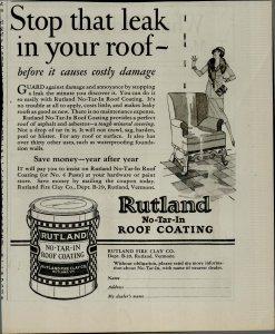 1927 Rutland No Tar In Roof Coating Vintage Print Ad 3929